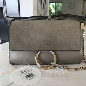 Chloe Faye Small Shoulder Bag in Motty Grey
